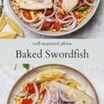 Baked swordfish pinterest graphic