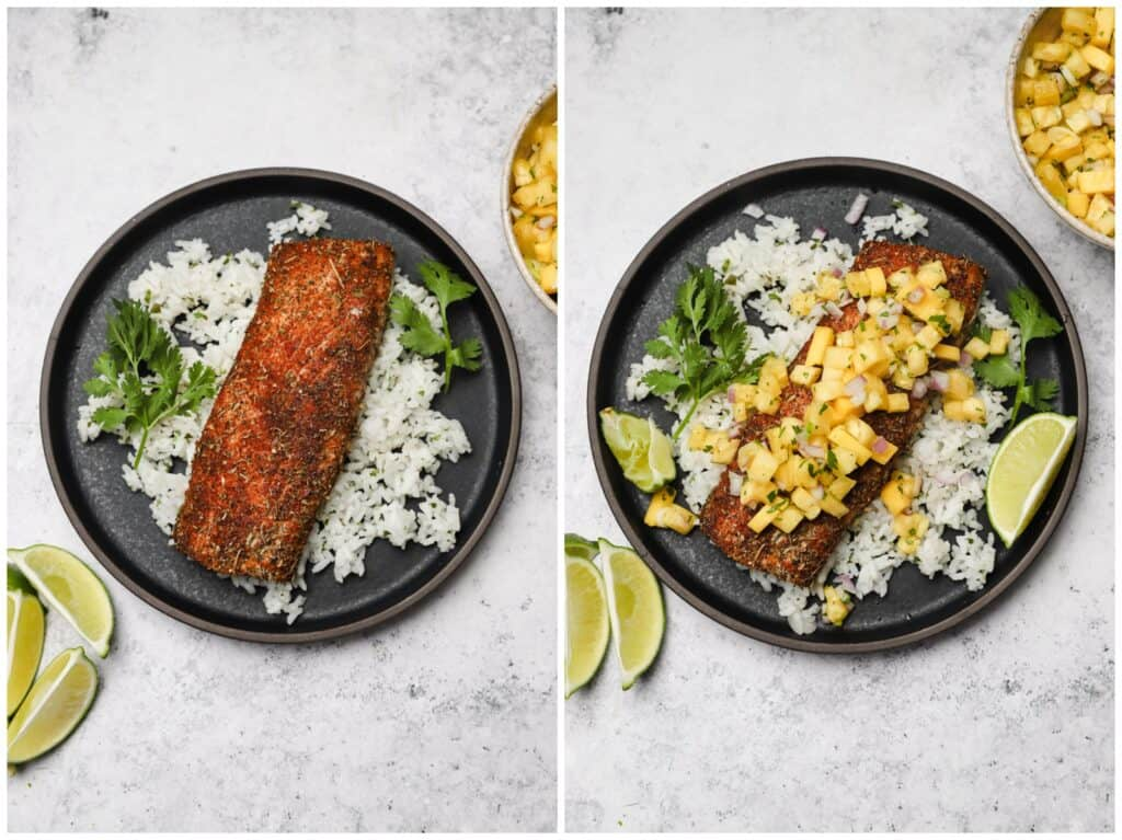 Blackened fish with cilantro lime rice
