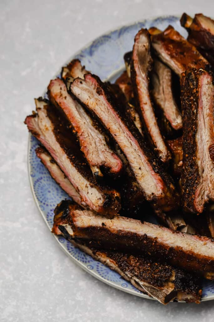 Close up of Traeger smoked St louis ribs