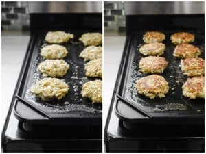 Cooking crab cakes on a griddle