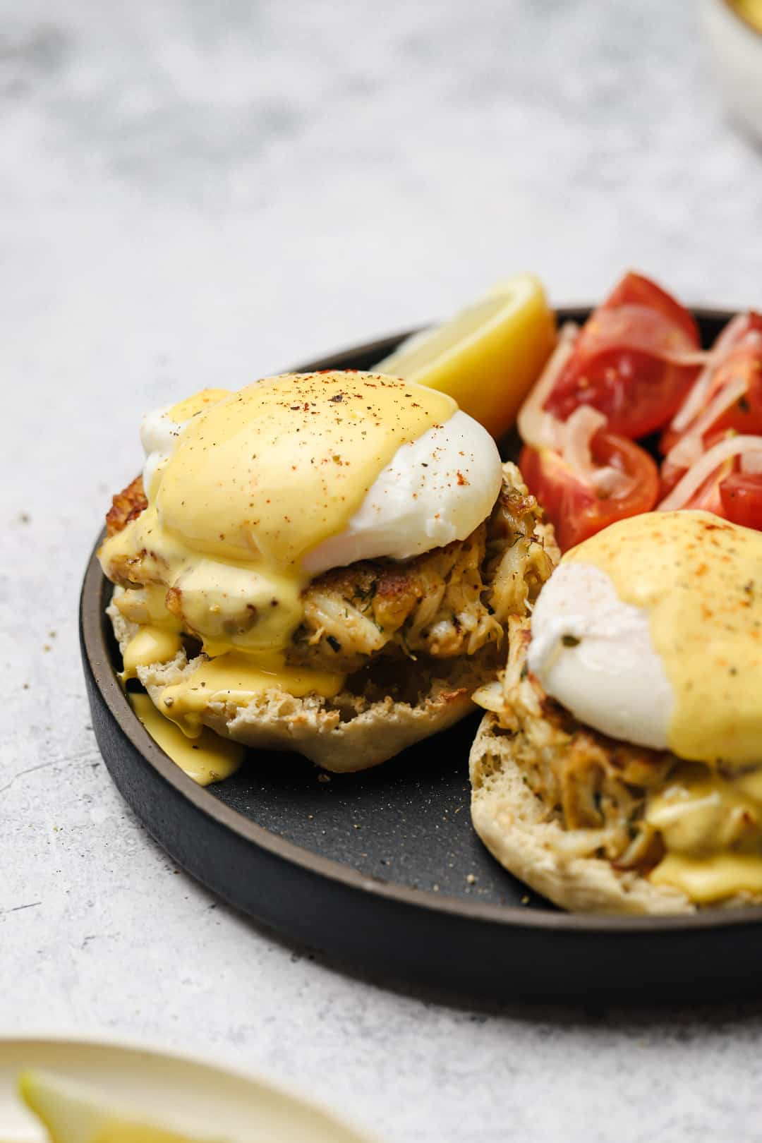 Crab cake benedict with blender hollandaise