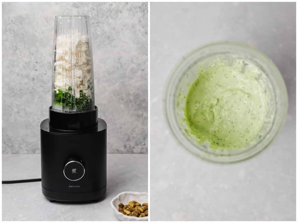 Creamy feta dip with fresh herbs