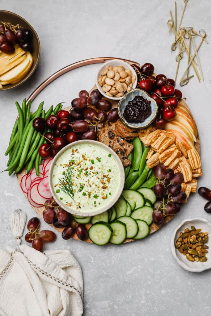 Creamy whipped feta crudite platter with grapes