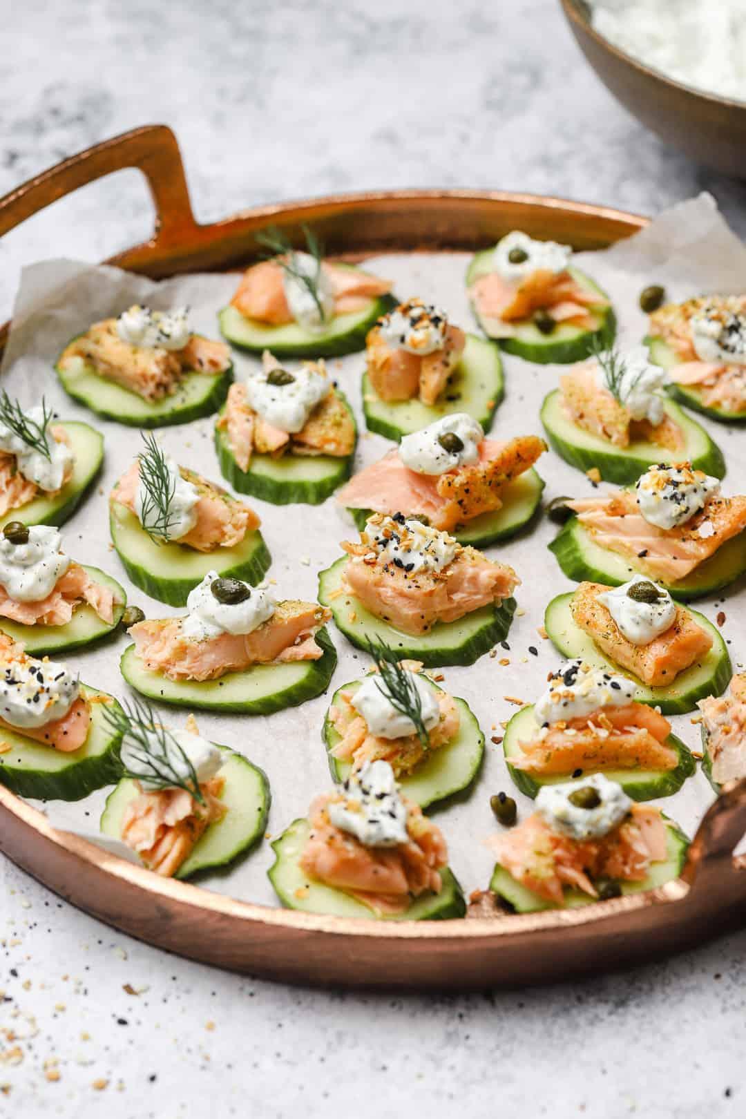 Cucumber stacks with greek yogurt and salmon