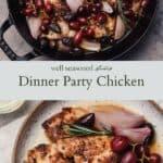 Dinner party chicken pinterest graphic