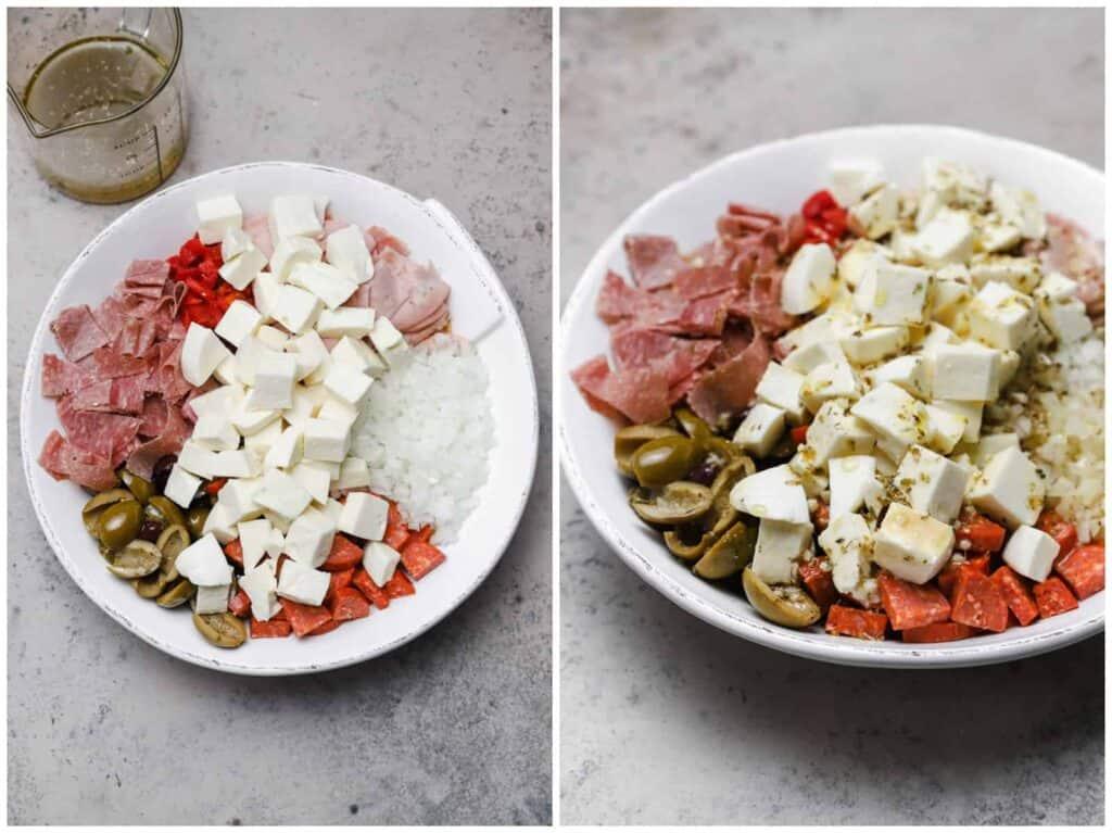Dressing antipasto with italian viniagrette