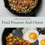 Fried potatoes and onion pinterest graphic
