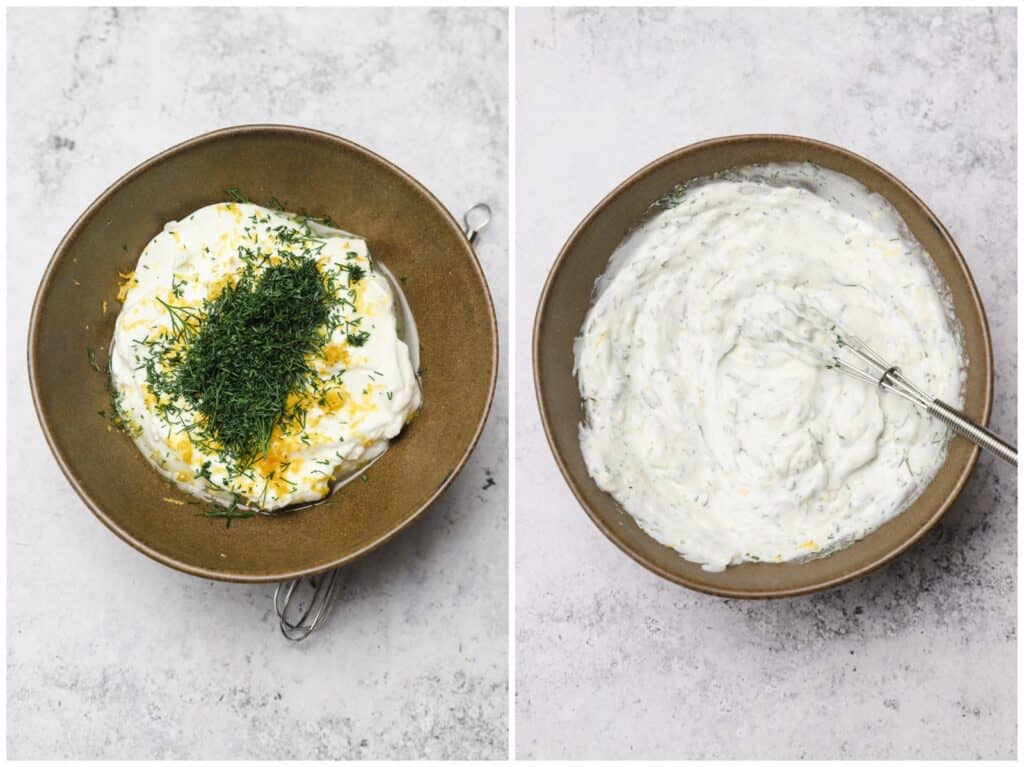 Greek yogurt sauce with lemon and dill in a bowl