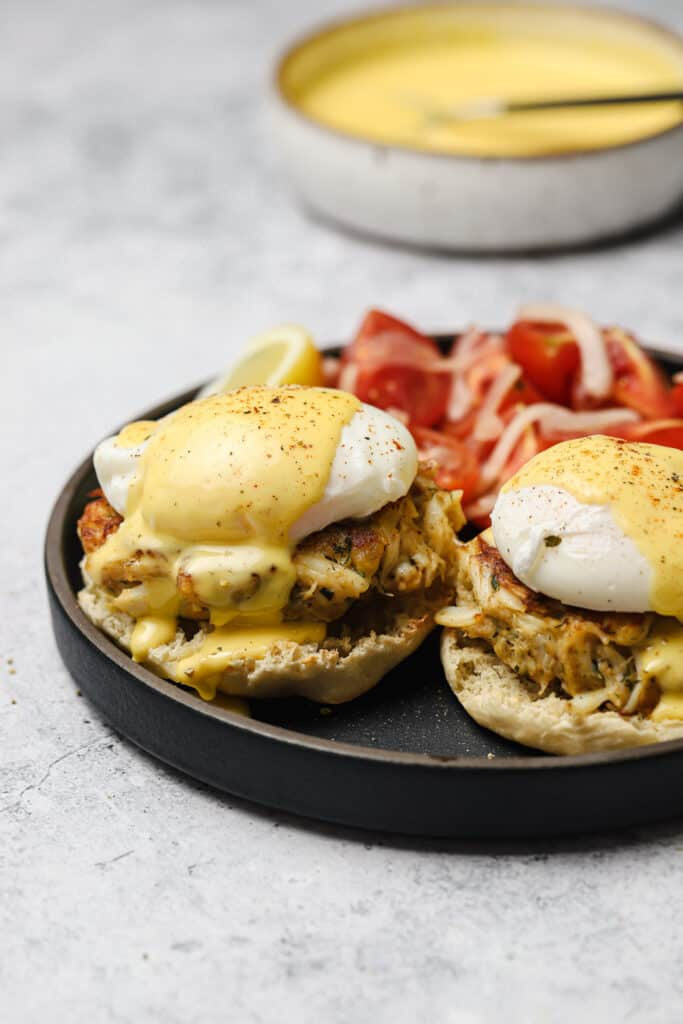 Homemade crab cake benedict with hollandaise