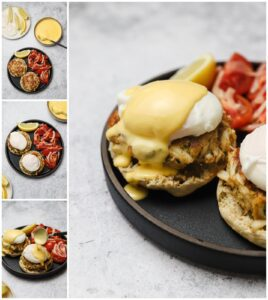 How to assemble a crab cake benedict