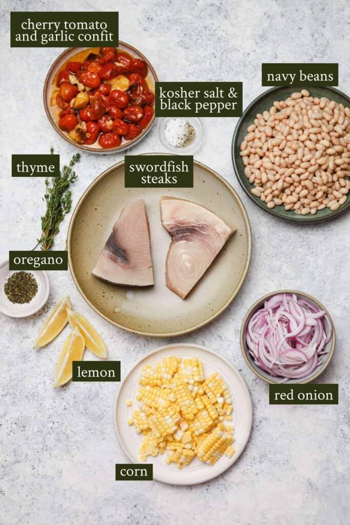 Ingredients for baked swordfish