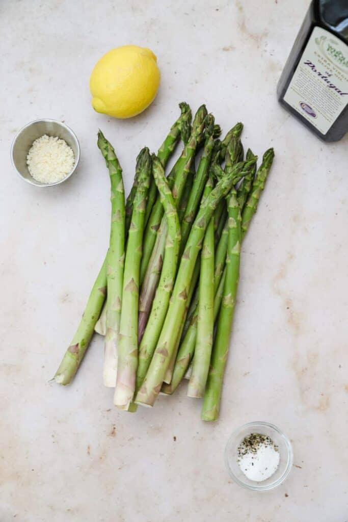 Ingredients for grilled asparagus in foil