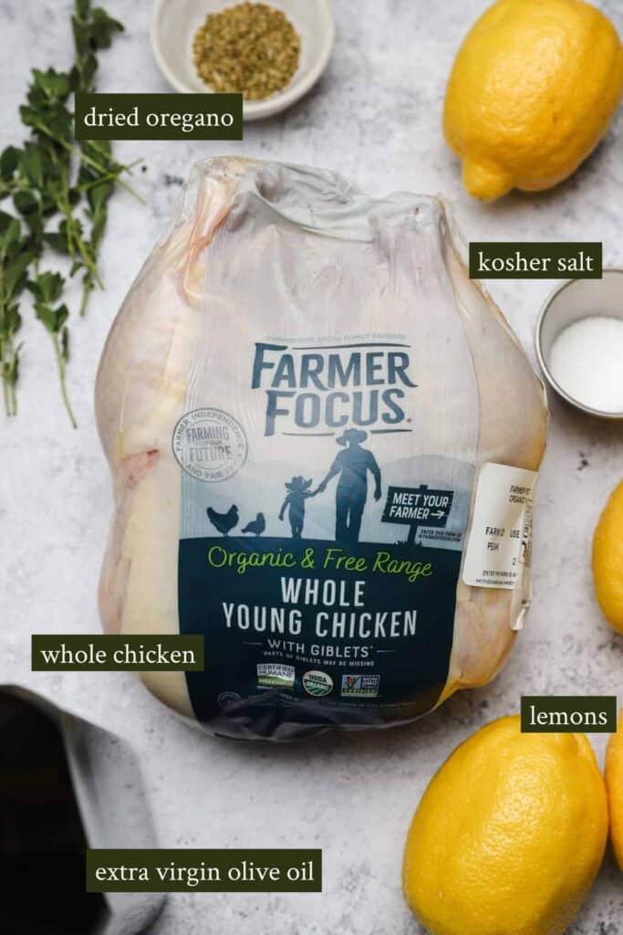 Ingredients for lemon oregano chicken