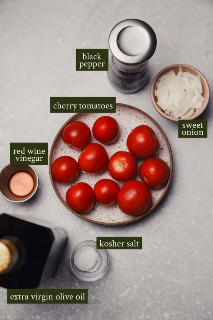 Ingredients for tomato and onion salad