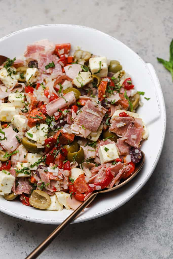 Italian antipasto salad with mortadella