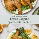 Lemon oregano spatchcock chicken pinterest graphic