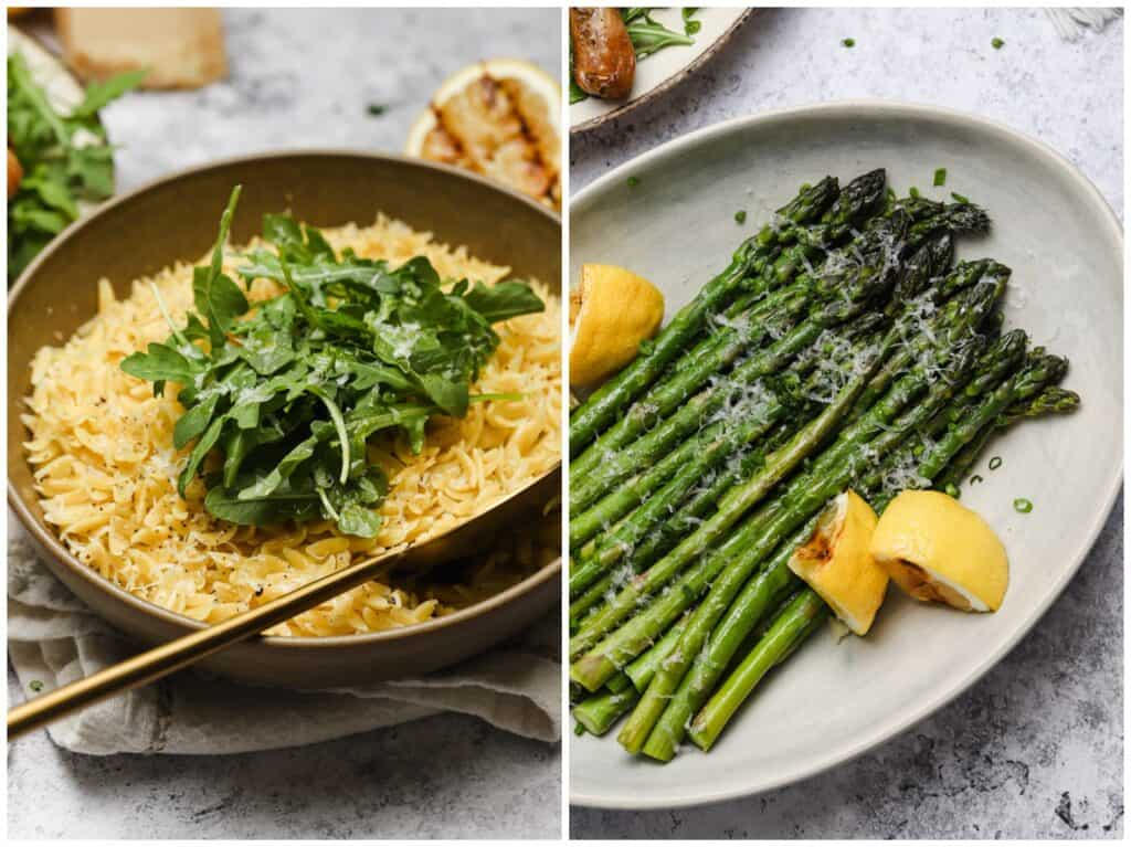 Lemon orzo and grilled asparagus