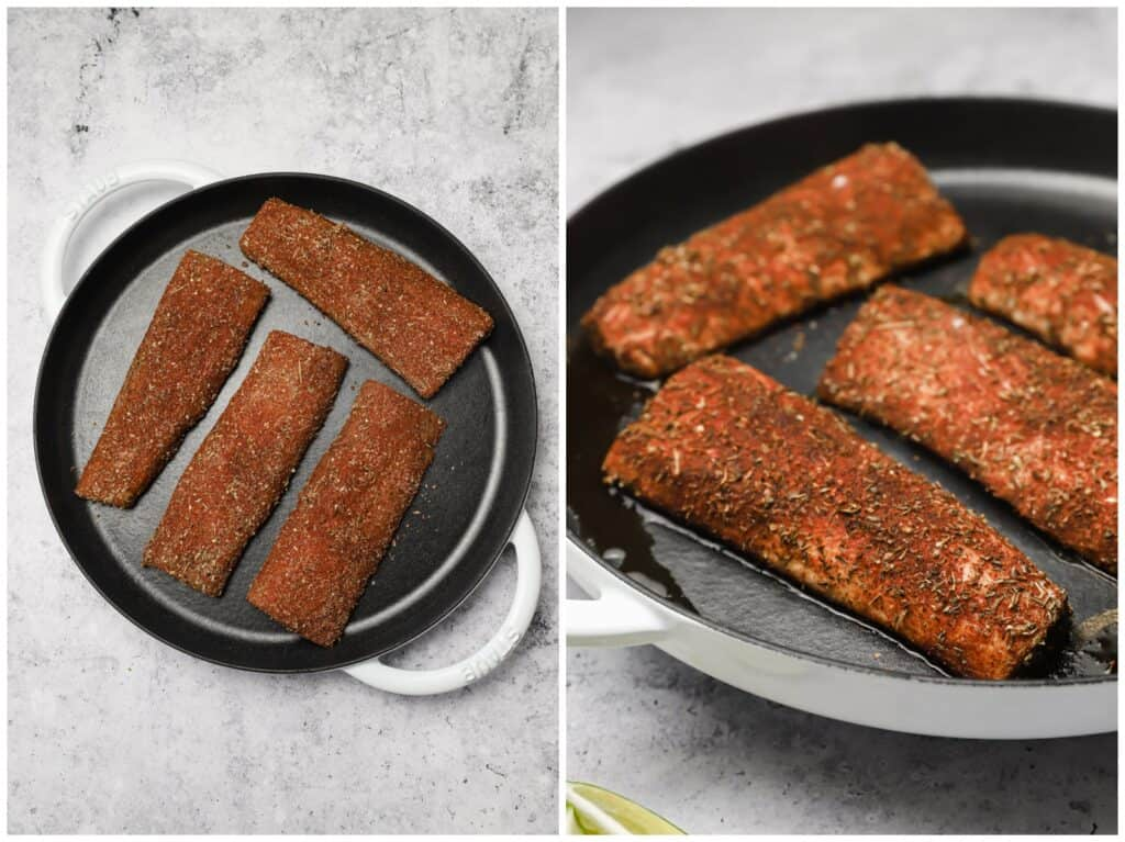 Mahi mahi fillets with blackening spice in a skillet