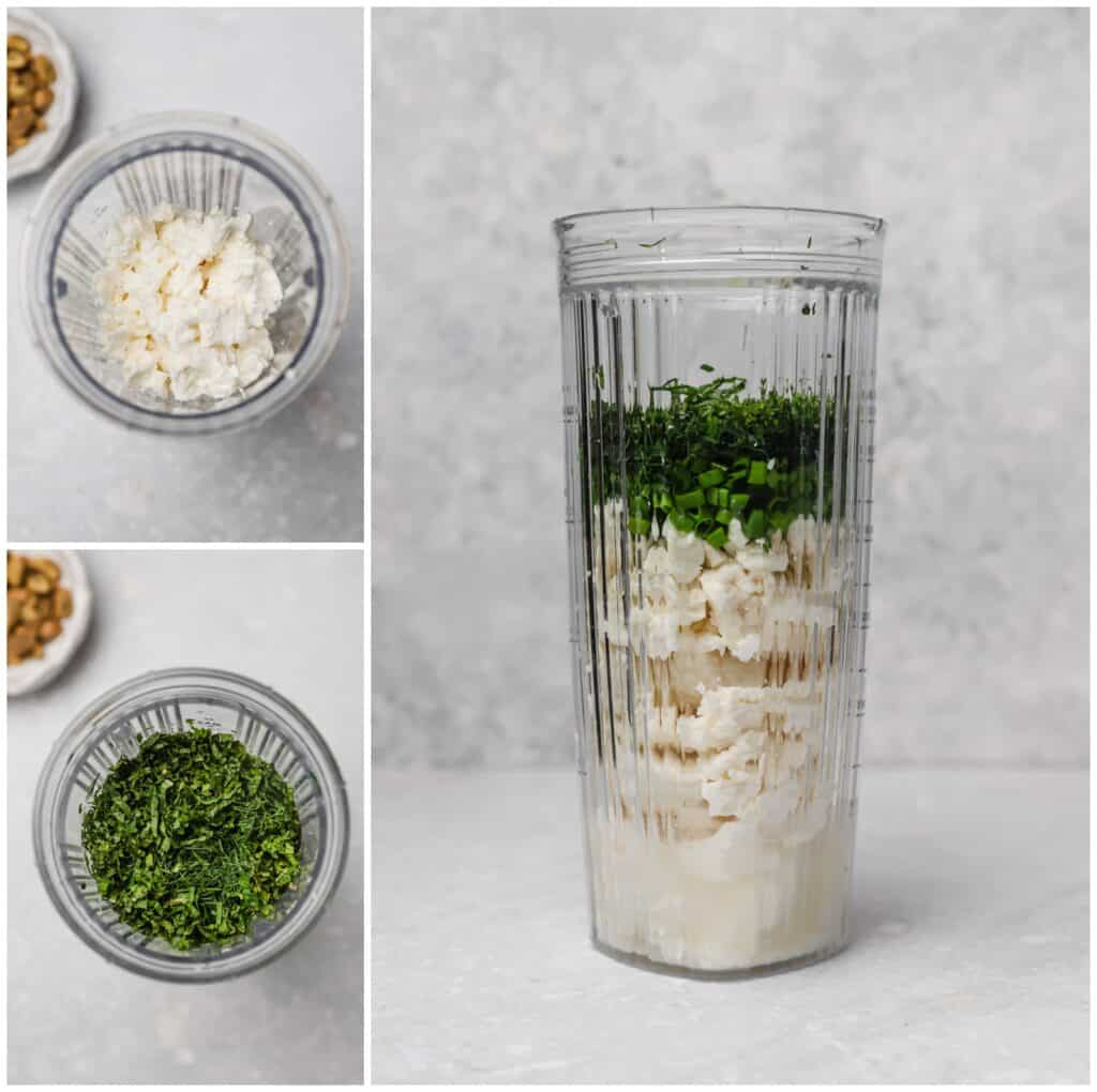 Making whipped feta dip in a personal blender