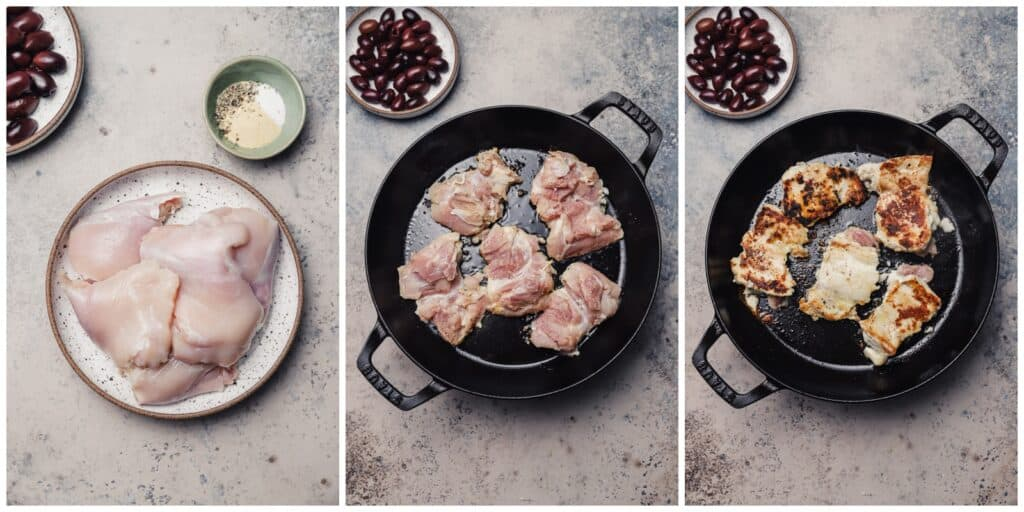 Pan searing chicken thighs