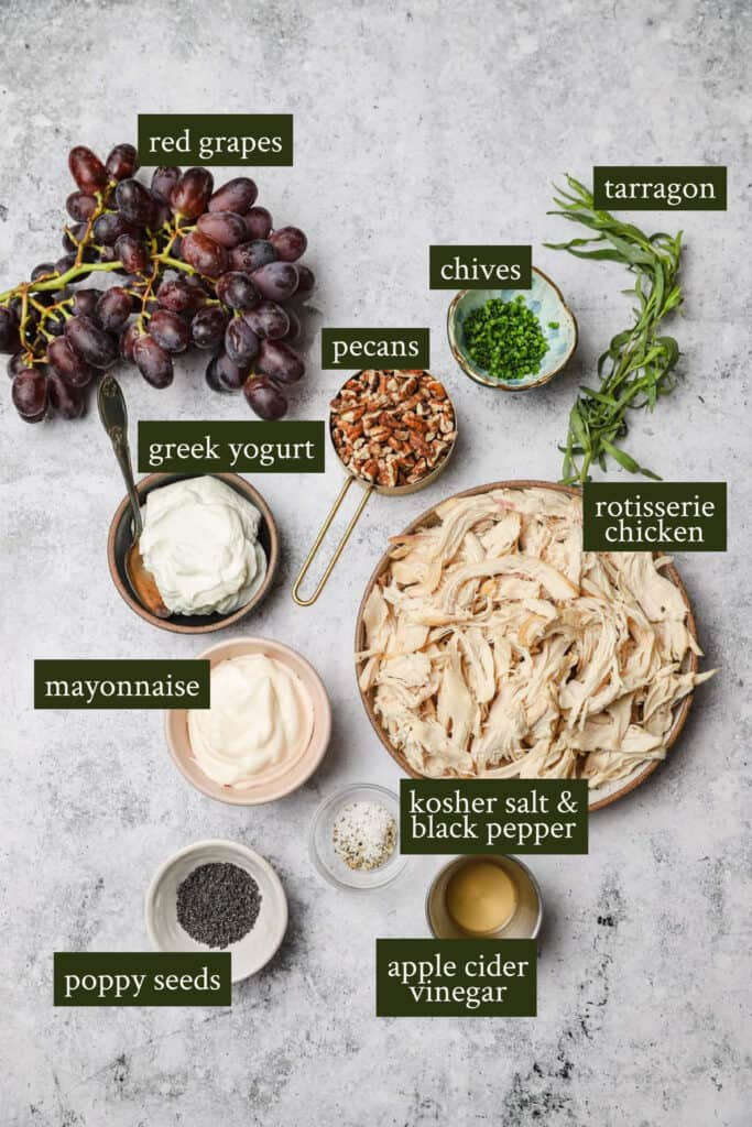 Pecan chicken salad ingredients with FAGE