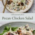 Pecan chicken salad pinterest graphic