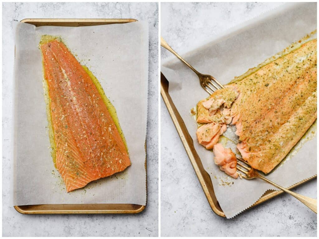 Slow baked side of salmon