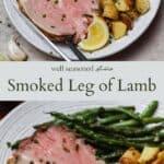 Smoked leg of lamb pinterest graphic