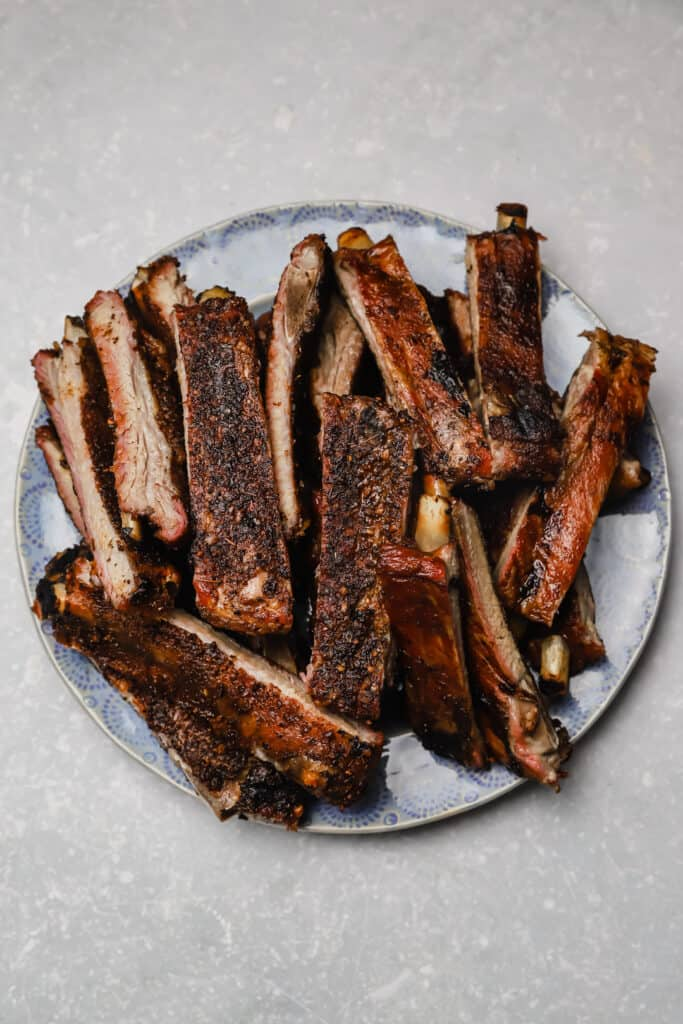 St Louis style pork ribs on a plate
