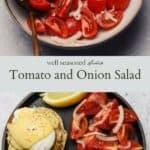 Tomato and onion salad pinterest graphic