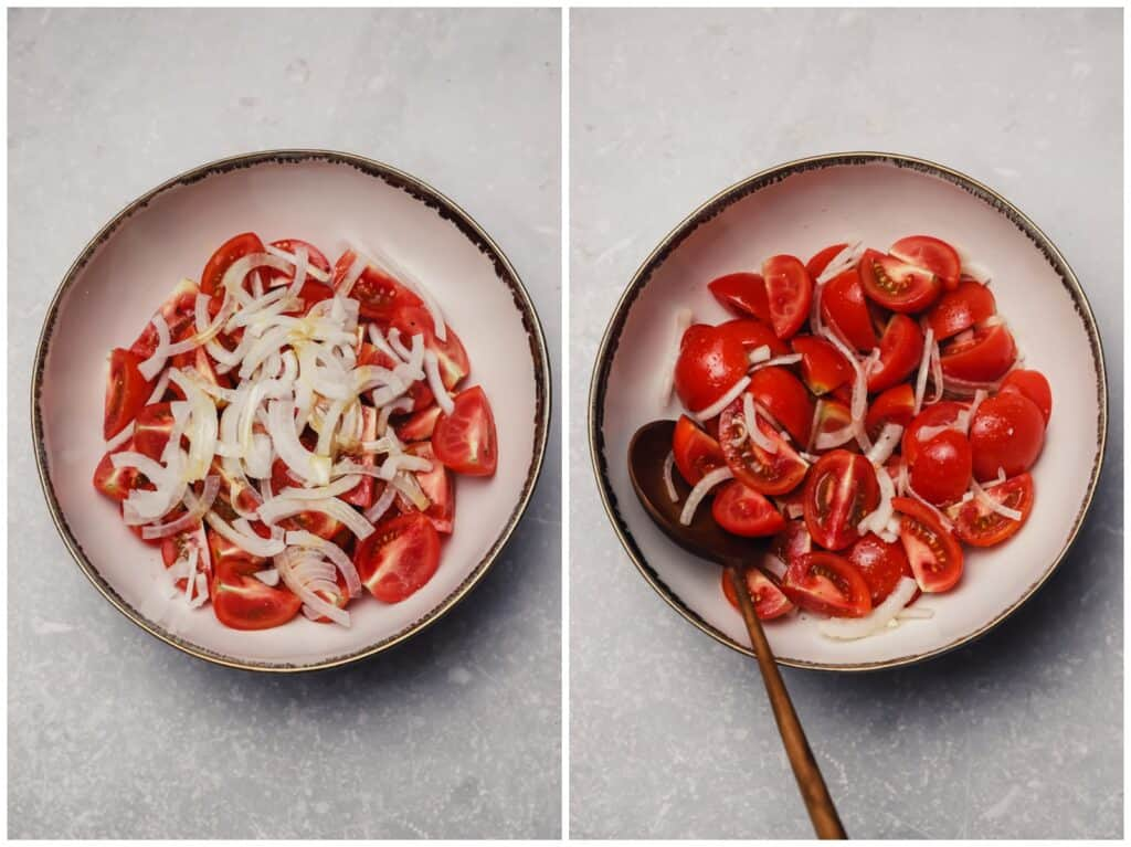 Tomatoes and onion marinating in a bowl
