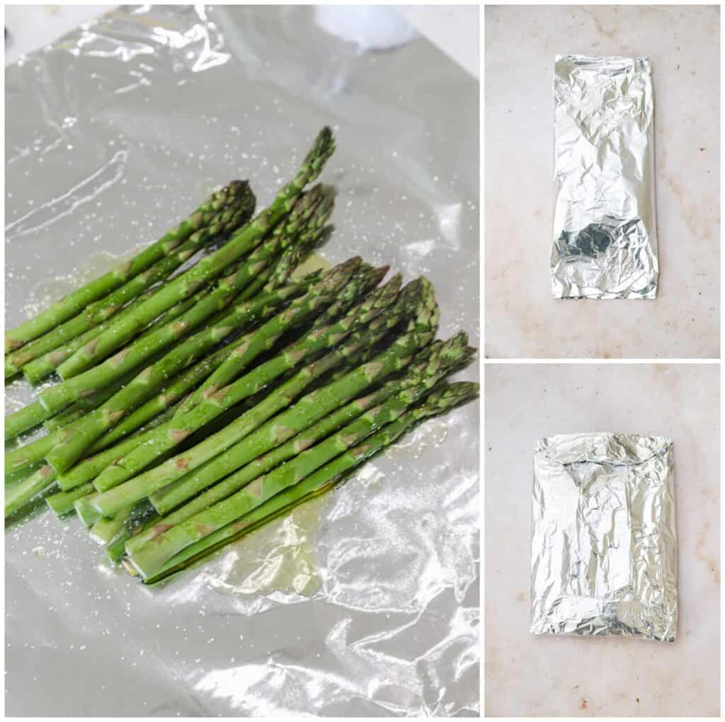 Wrapping asparagus in foil