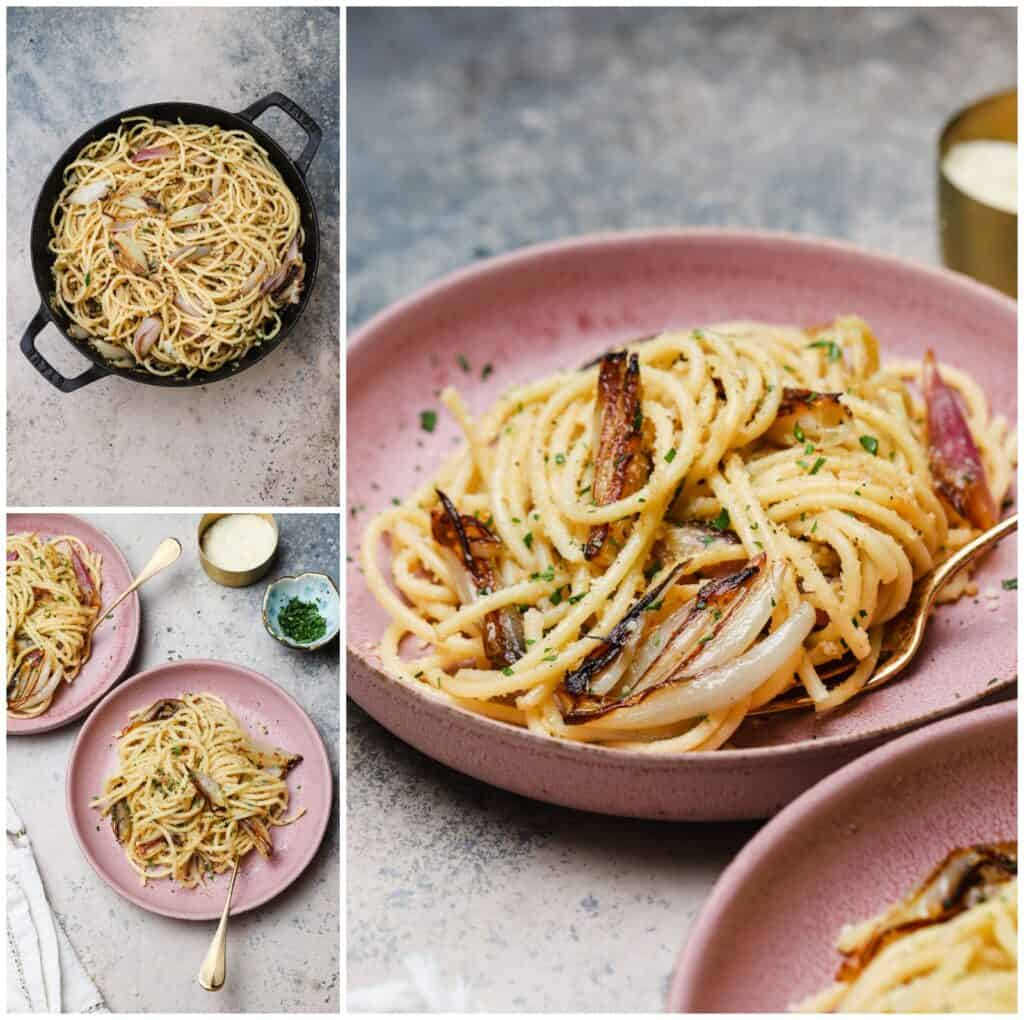 Caramelized shallot pasta on a plate with anchovies and lemon