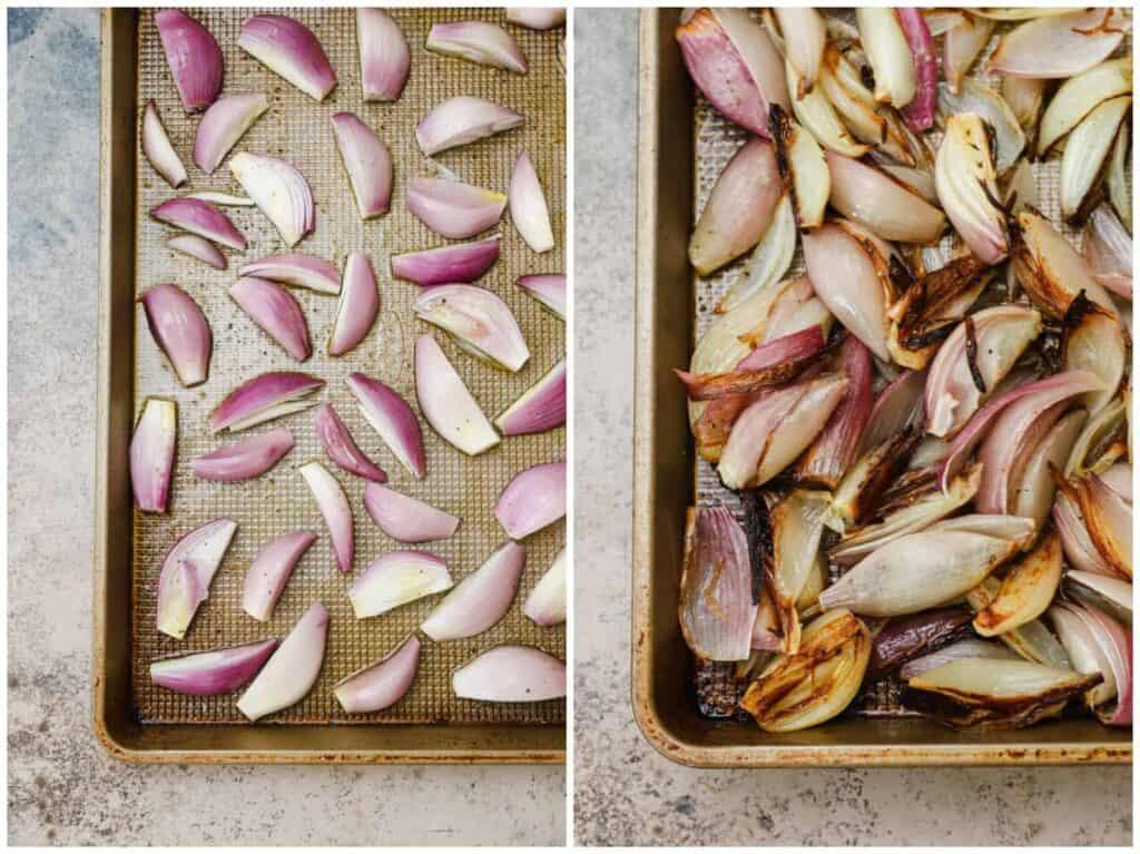 Caramelized shallots on a baking sheet