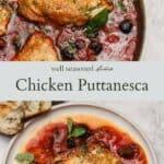 Chicken puttanesca pinterest graphic