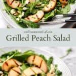 Grilled peach salad pinterest graphic