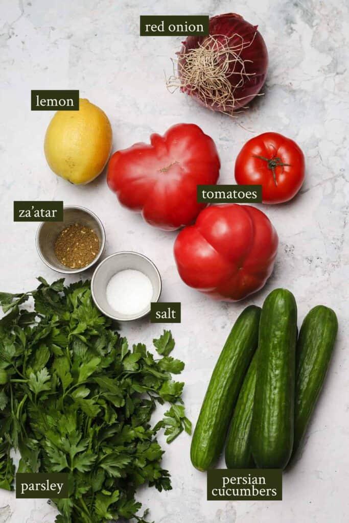 Ingredients for Israeli salad