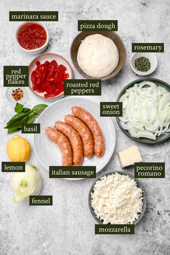 Ingredients for Italian sausage pizza