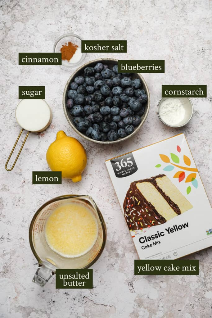 Ingredients for blueberry dump cake