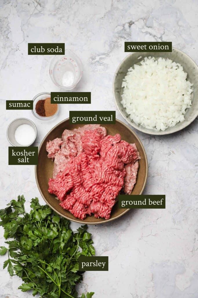 Ingredients for kebab skewers
