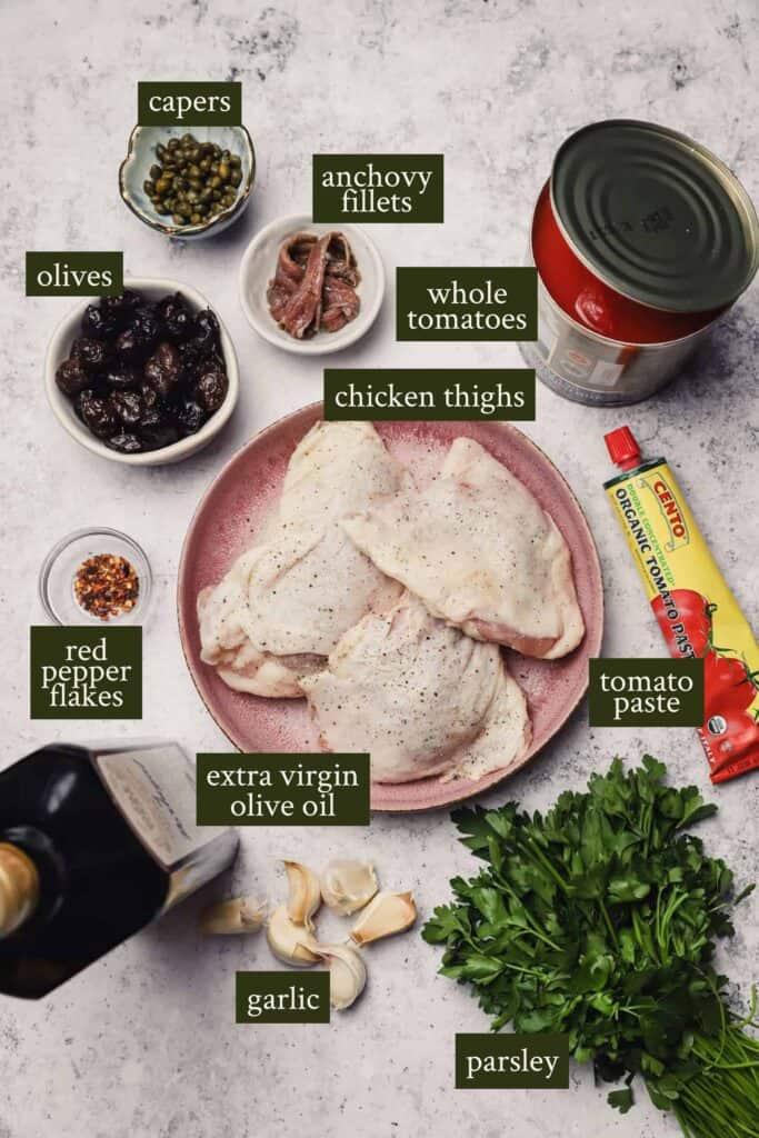 Ingredients for skillet chicken puttanesca