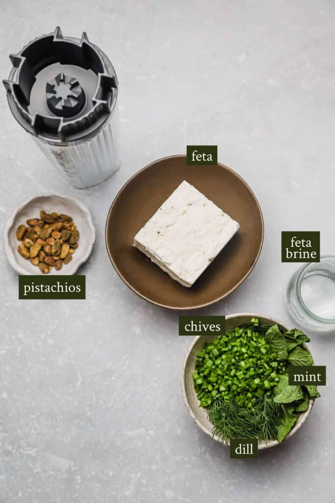 Ingredients for whipped feta dip
