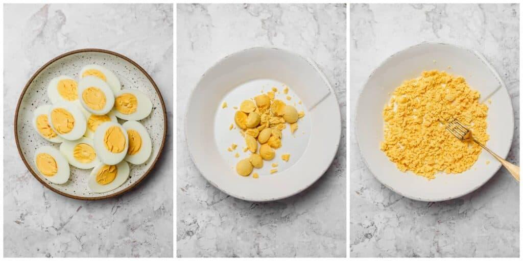 Mashing egg yolks for deviled eggs