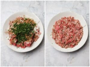 Mixing ground beef and veal in a mixing bowl