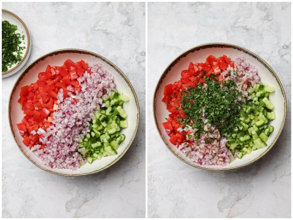Mixing tomato cucumbers and red onion in a bowl