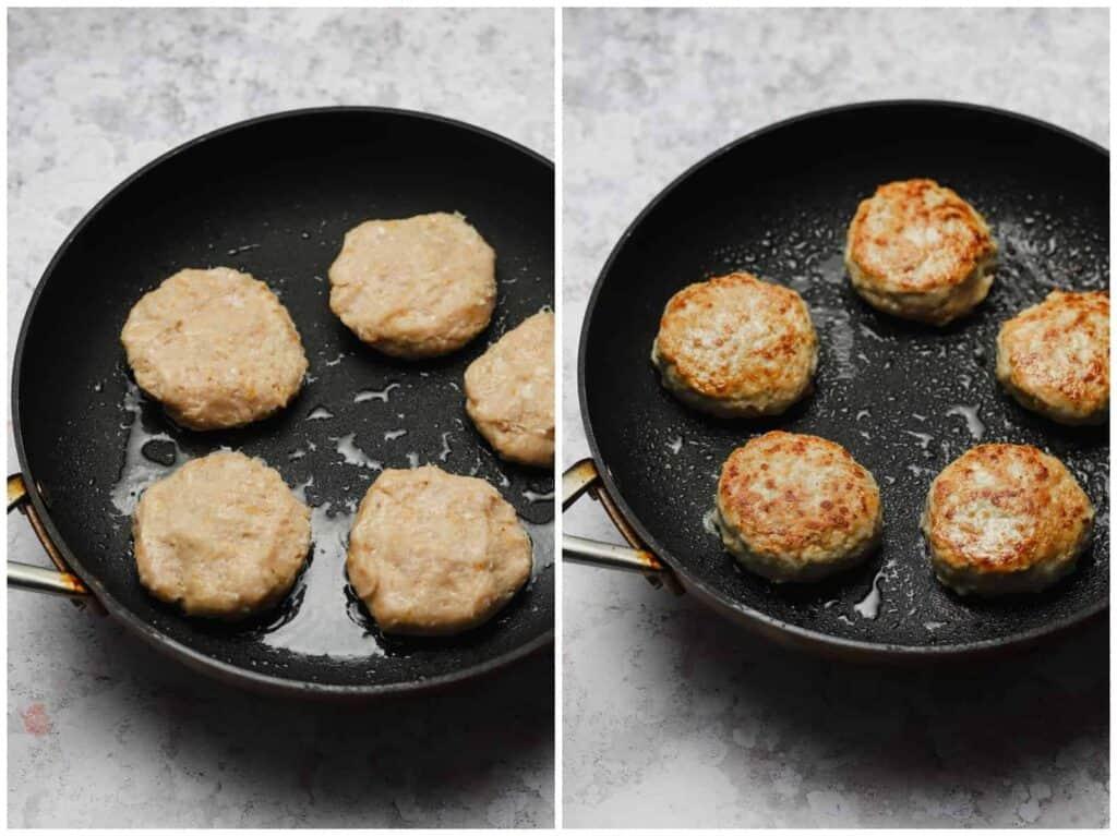 Chicken burger patty recipe in a skillet