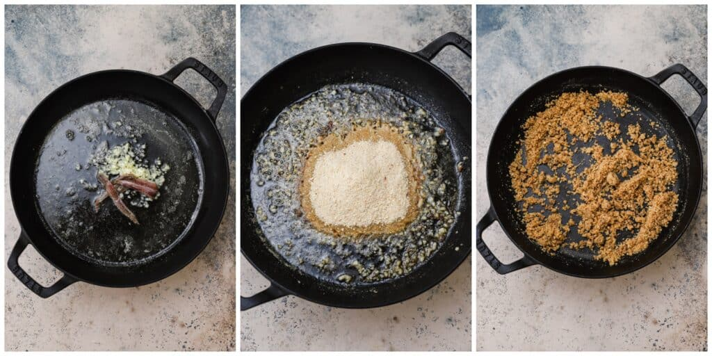 Toasting breadcrumbs in a skillet