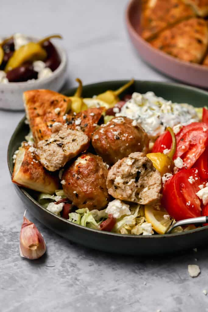 Baked turkey meatballs with pita chips