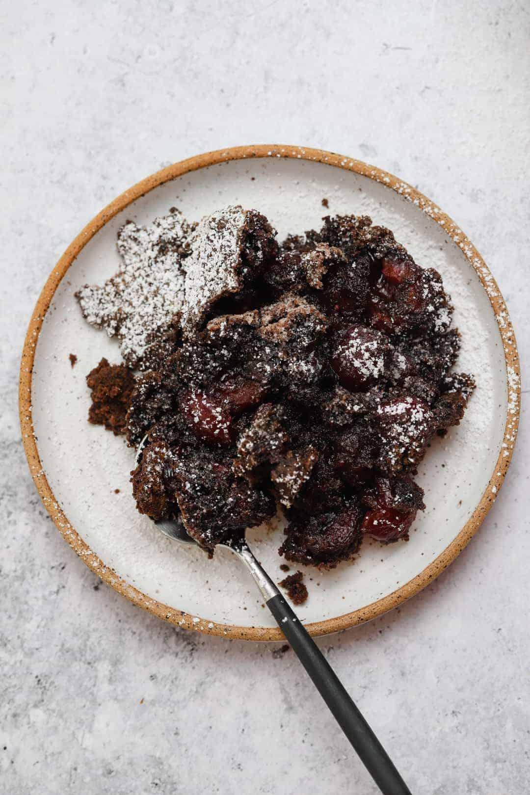 Chocolate cherry dump cake with cake mix