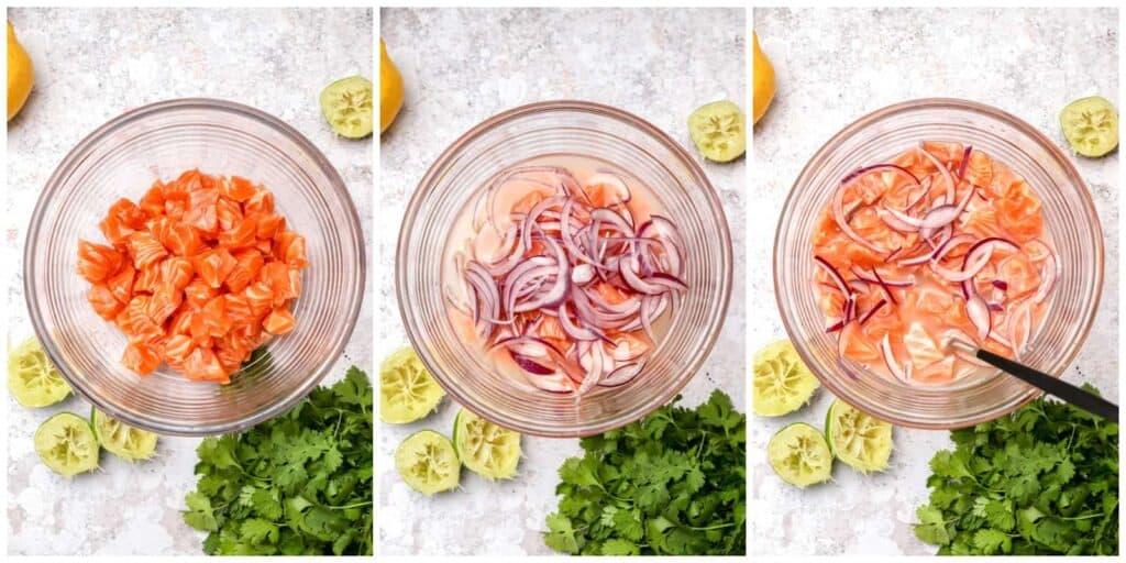 Fresh salmon and lime juice